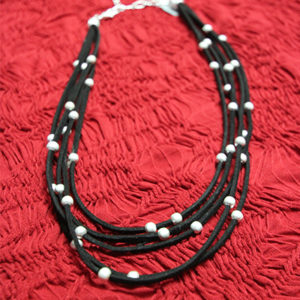 leather and silver combination choker
