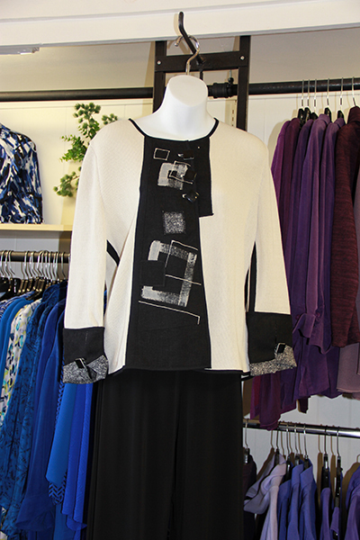 white and black sculpted tunic and pants at Herlihy's womens boutique