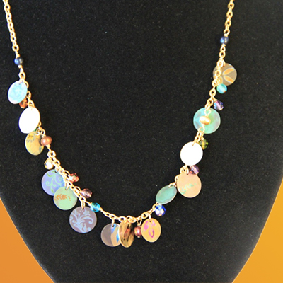 floral pattern coin necklace