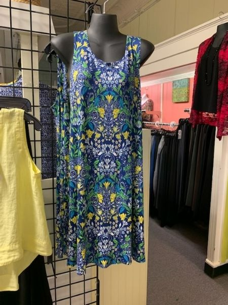 sleeveless dress blue and gold pattern available at Herlihy's women's clothing boutique